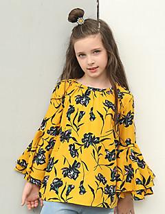 billige Pigetoppe-Pige Skjorte Blomstret, Polyester Alle årstider Langærmet Vintage Hvid Orange