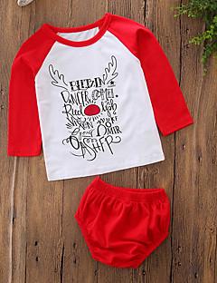 billige Sett med babyklær-Baby Pige Tøjsæt Jul Daglig Geometrisk Simpel Bogstaver, Bomuld Polyester Forår Sommer Langærmet Simple Afslappet Aktiv Rød
