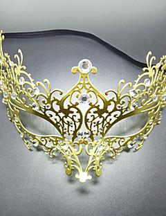 baratos Máscaras-Carnaval Máscara Venetian / Mascarada Dourado Metal Acessórios para Cosplay Baile de Máscaras Trajes da Noite das Bruxas