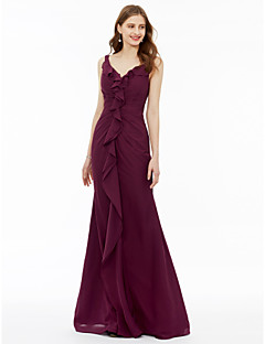 cheap Purple Passion-Mermaid / Trumpet Spaghetti Straps Floor Length Chiffon Bridesmaid Dress with Pleats Ruffles by LAN TING BRIDE®