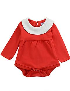 billige Pigetoppe-Pige Bluse I-byen-tøj Ferie Ensfarvet Patchwork, Bomuld Alle årstider Langærmet Sødt Aktiv Rød