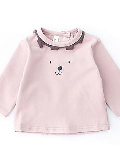 billige Babyoverdele-Baby Pige Bluse Daglig Ensfarvet Stribet, Bomuld Langærmet Normal Sort Lyserød