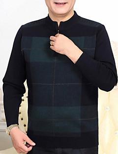 tanie Męskie swetry i swetry rozpinane-Męskie Prosty Na co dzień Okrągły dekolt Pulower Wielokolorowa Długi rękaw