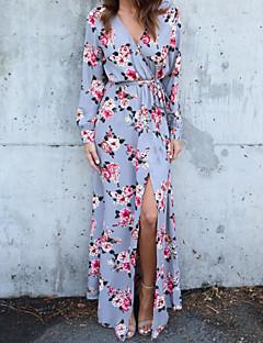baratos Vestidos Longos-Mulheres Bainha Vestido - Estilo Floral, Geométrica Decote V Longo
