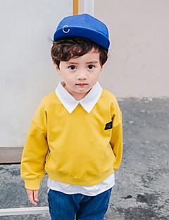 billige Hættetrøjer og sweatshirts til drenge-Drenge Hættetrøje og sweatshirt Ensfarvet, Bomuld Forår Alle årstider Langærmet Simple Blå Gul Lysebrun