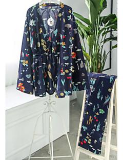 billige Tøjsæt til piger-Pige Tøjsæt Daglig Blomstret, Bomuld Forår Sommer 3/4-ærmer Afslappet Beige Navyblå