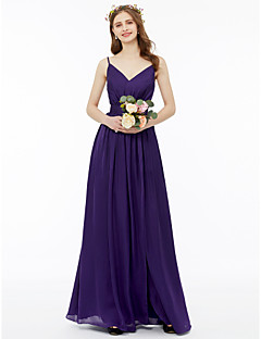 A Line V Neck Floor Length Chiffon Charmeuse Bridesmaid Dress With Sash Ribbon Pleats By Lan Ting Bride