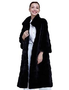 billiga Dampälsar och läder-Dam Dagligen Vinter Maxi Fur Coat, Enfärgad Hög krage Långärmad Rävpäls Svart XXL / XXXL / 4XL