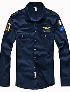 cheap Men's Clothing-Men's Military Slim Shirt - Solid Colored Basic Classic Collar / Long Sleeve / Spring