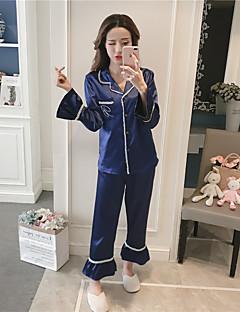 billige Moteundertøy-Dame Dress Pyjamas Medium Rayon Blå Hvit Rosa
