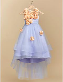 tanie Sukienki dla dziewczynek z kwiatami-Balowa Tren sweep Sukienka dla dziewczynki z kwiatami - Satyna Tiul Bez rękawów Zaokrąglony z Przewiązka / Wstążka Kwiat przez LAN TING