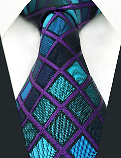 billige Slips og sløyfer-menns fest arbeid rayon slips - farge blokk sjekk jacquard
