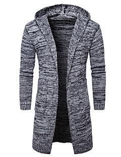 tanie Męskie swetry i swetry rozpinane-Męskie Weekend Kaptur Szczupła Długi Rozpinany Jendolity kolor Długi rękaw