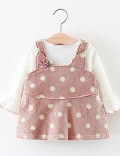billige Sett med babyklær-Baby Pige Tøjsæt Fest Prikker, Bomuld Forår Langærmet Simple Brun Lyserød Grå
