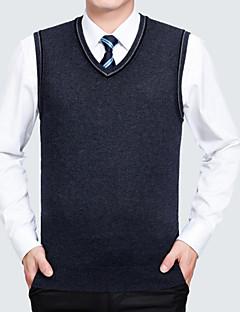 tanie Męskie swetry i swetry rozpinane-Męskie W serek Kamizelka Solid Color Bez rękawów