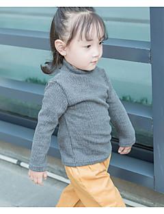 billige Babyoverdele-Baby Pige Trøje og cardigan Ensfarvet, Akryl Langærmet Normal Grøn Sort Lyserød Grå Gul