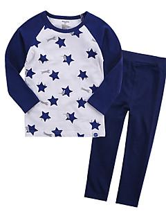billige Undertøj og sokker til piger-Unisex Nattøj Trykt mønster, Bomuld Langærmet Simple Gul Marineblå