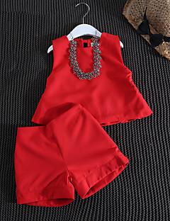 billige Tøjsæt til piger-Pige Tøjsæt Daglig Ensfarvet, Bomuld Bambus Fiber Spandex Forår Uden ærmer Afslappet Rød