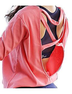 billige Løbetøj-Dame Åben Ryg Løbe-T-shirt - Hvid, Sort, Rosa Sport Mode Net Toppe Yoga, Træning & Fitness, Jogging Langærmet Plusstørrelser Sportstøj Vindtæt, Åndbart, Hurtigtørrende Høj Elasticitet