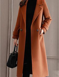 お買い得  レディースコート&トレンチコート-女性用 コート Vネック ソリッド, コットン 特大の