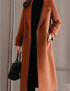levne Dámské kabáty a trenčkoty-Dámské Jednobarevné Kabát - Bavlna Do V Velkoformátové