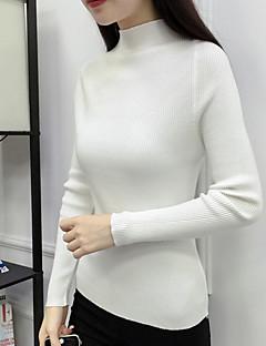 tanie Swetry damskie-Damskie Codzienny Solidne kolory Długi rękaw Regularny Pulower, Golf Jesień / Zima Rumiany róż / Szary / Khaki L / XL / XXL