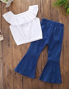 billige Tøjsæt til piger-Pige Tøjsæt Daglig I-byen-tøj Ensfarvet, Bomuld Polyester Forår Sommer Uden ærmer Hvid