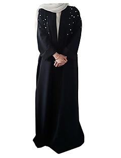 baratos Costumes étnicas e Cultural-Moda Vestido Kaftan Abaya Vestido árabe Mulheres Festival / Celebração Trajes da Noite das Bruxas Preto Vermelho Castanho Sólido Pérola