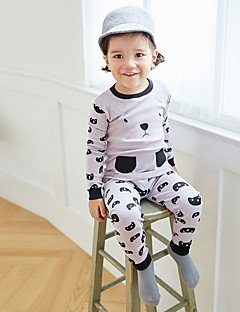 billige Undertøj og sokker til drenge-Drenge Nattøj Bomuld Langærmet Simple Grå