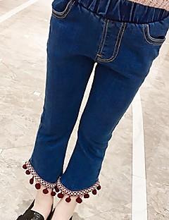 billige Bukser og leggings til piger-Pige Bukser Ensfarvet, Bomuld Forår Efterår Sødt Blå