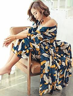 billige Moteundertøy-Dame Dress Pyjamas Medium Bomull Blå