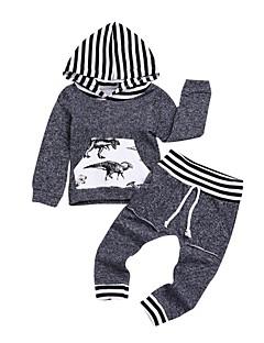 cheap Boys' Clothing-Boys' Solid Animal Print Clothing Set, Cotton Spring Long Sleeves Gray