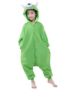 billige Kigurumi-Barne Kigurumi-pysjamas Anime / Ettøyet Monster Onesie-pysjamas Kostume Polar Fleece Grønn Cosplay Til Pysjamas med dyremotiv Tegnefilm Halloween Festival / høytid / Jul