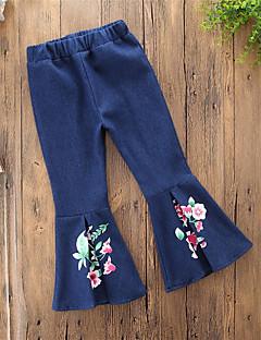 billige Bukser og leggings til piger-Pige Jeans Daglig I-byen-tøj Ensfarvet Blomstret, Bomuld Polyester Forår Alle årstider Vintage Afslappet Blå