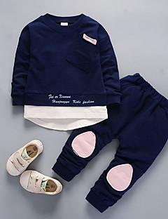 billige Tøjsæt til drenge-Drenge Tøjsæt Daglig Farveblok, Nylon Efterår Langærmet Afslappet Lyserød Navyblå Lysegrøn Lyseblå