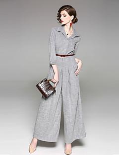 お買い得  パンツ-女性用 ヴィンテージ ストリートファッション ミッドライズ 伸縮性なし ルーズ ワイドレッグ パンツ, ポリエステル ソリッド オールシーズン