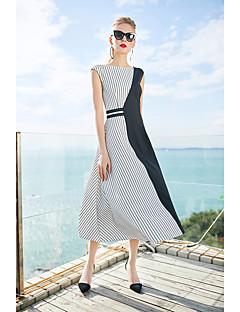 Χαμηλού Κόστους ZIYI-Γυναικεία Απλός Λεπτό Θήκη Φόρεμα - Ριγέ Συνδυασμός Χρωμάτων Μίντι
