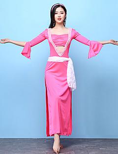 Χαμηλού Κόστους Χορός της κοιλιάς-Χορός της κοιλιάς Σύνολα Γυναικεία Επίδοση Spandex Με χώρισμα Μισό μανίκι Ψηλό Φόρεμα Ζώνη Καλύμματα Κεφαλής Κοντά Παντελονάκια