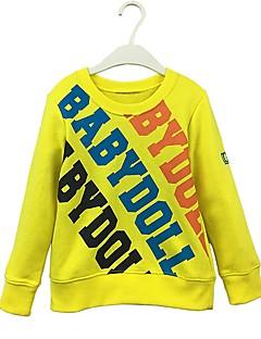 billige Overdele til drenge-Drenge Hættetrøje og sweatshirt Ensfarvet Bogstaver, Bomuld Forår Efterår Langærmet Simple Sødt Tegneserie Gul