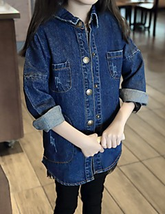 cheap Girls' Clothing-Girls' Daily Solid Trench Coat, Cotton Casual Blue