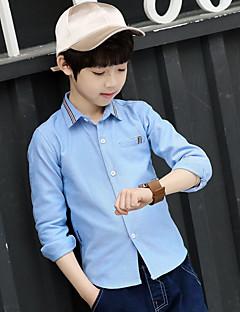 tanie Odzież dla chłopców-Koszula Bawełna Dla chłopców Wiosna Na każdy sezon Długi rękaw Prosty Niebieski White