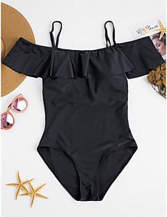 billige Bikinier og damemote 2017-Dame Rynker En del - Klassisk Stil / Sexy, Underbukser Ensfarget / Drapering