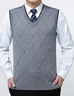 baratos Suéteres & Cardigans Masculinos-Homens Sem Manga Pulôver - Sólido / Decote V
