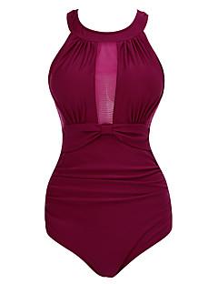 billige Bikinier og damemote-Dame Store størrelser Grime Svart Navyblå Vin En del Badetøy - Helfarge Åpen rygg XXL XXXL 4XL