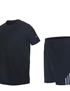 billiga Träning-, jogging- och yogakläder-Herr T-shirt och shorts till jogging - Blå, Forest Grön, Grå sporter Shorts Kortärmad Sportkläder Torkar snabbt