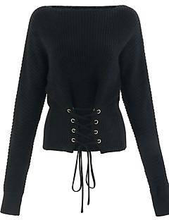 お買い得  レディースセーター-女性用 長袖 ボートネック プルオーバー - ソリッド ボートネック