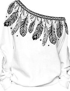 baratos Moletons com Capuz e Sem Capuz Femininos-Mulheres Manga Longa Moletons com Capuz e Abrigos - Estampado Ombro a Ombro