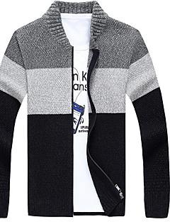 tanie Męskie swetry i swetry rozpinane-Męskie Okrągły dekolt Rozpinany Wielokolorowa Długi rękaw