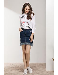 billige Skjorte-Høj krave Dame - Ensfarvet Bomuld, Trykt mønster Sødt Ferie Skjorte