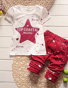 billige Tøjsæt til drenge-Drenge Tøjsæt Daglig Trykt mønster, Bomuld Sommer Halvlange ærmer Simple Blå Rød